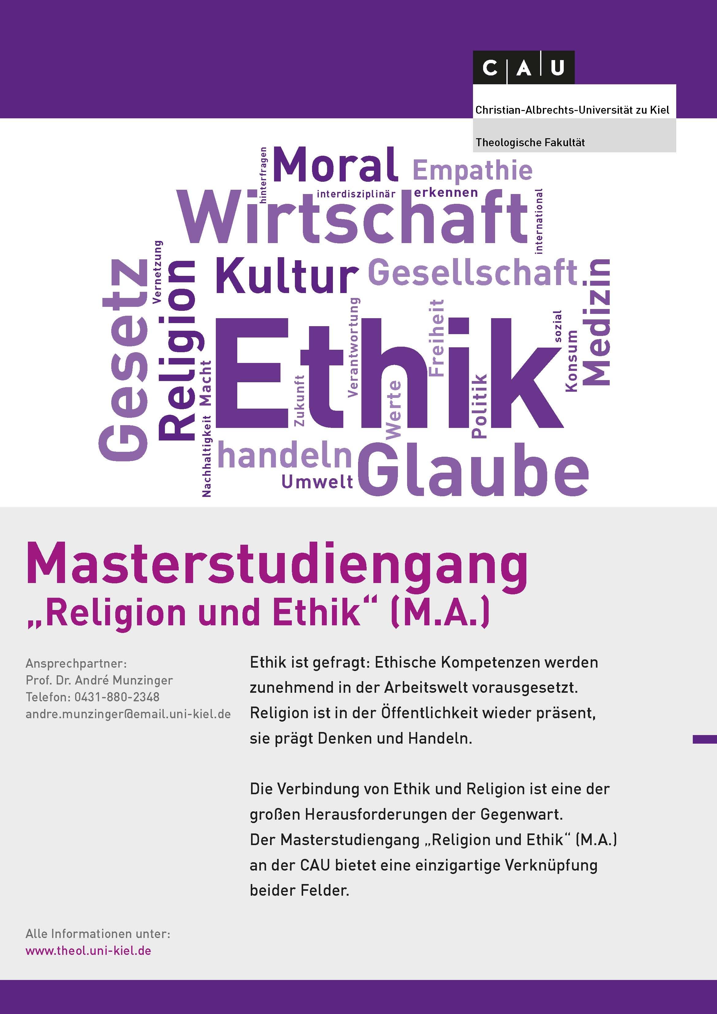 Masterstudiengang Religion und Ethik Plakat
